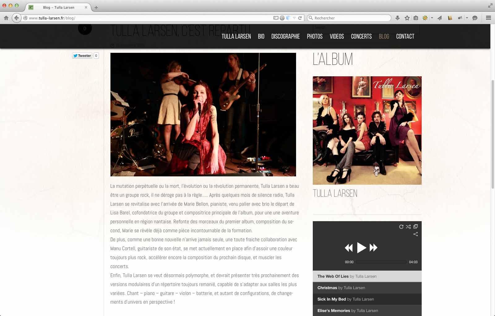 Création de site internet d'artiste, page de blog   CDW
