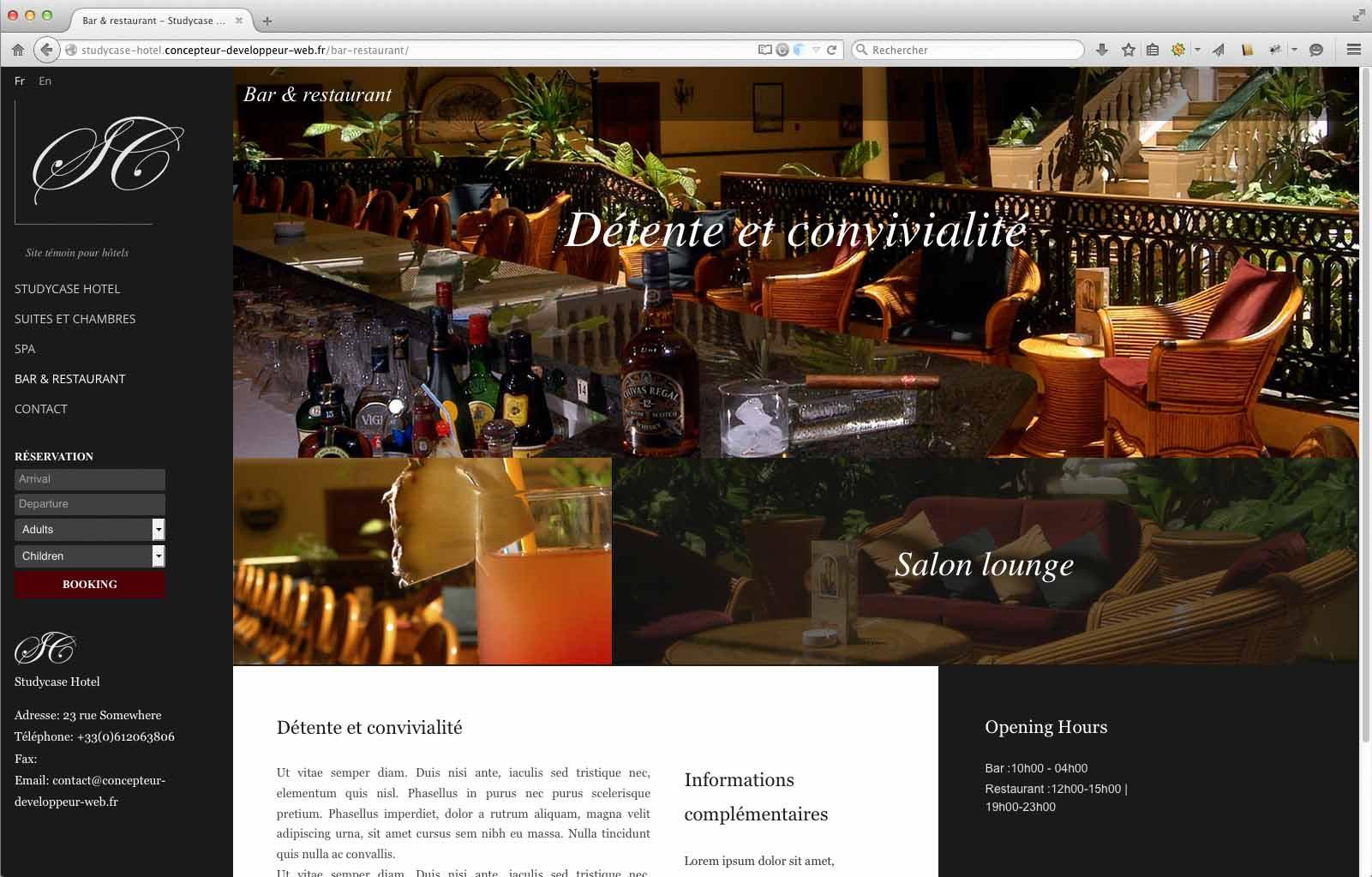 Création site internet prototype pour hôtel page restaurant