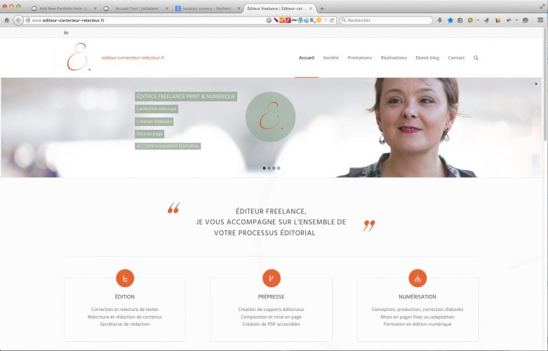 Rendu page d'accueil du site corporate WordPress éditeur-correcteur-relecteur.fr