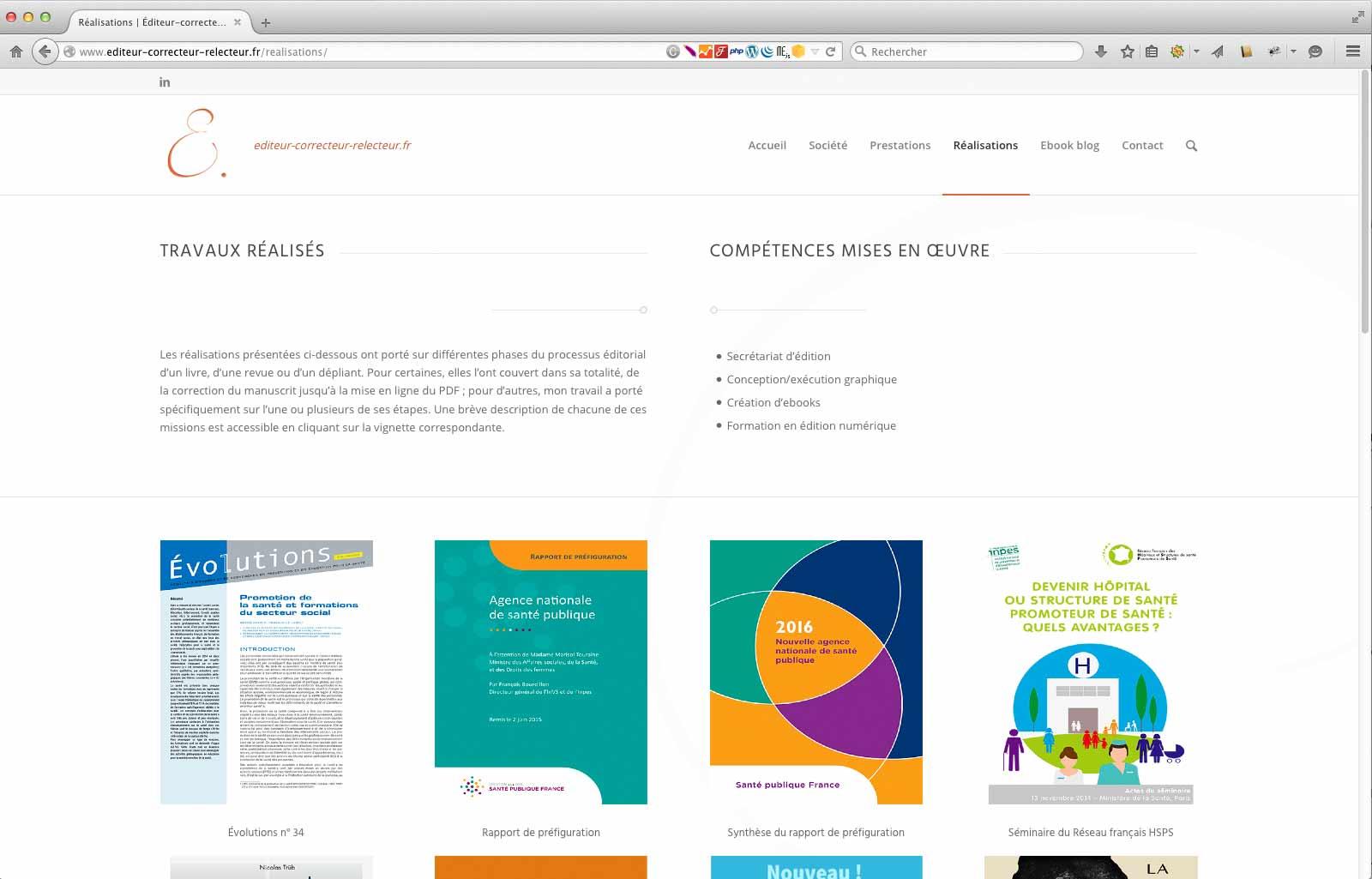Refonte du site ECR page de réalisations