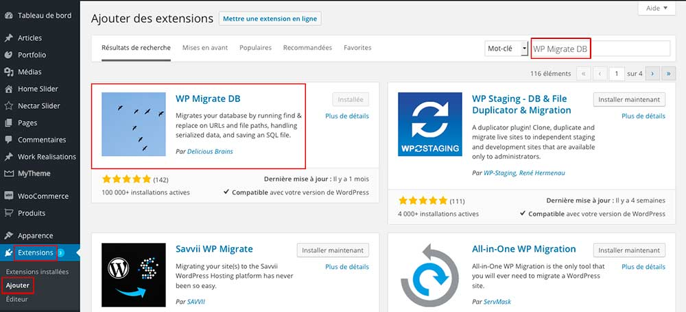 Installation du plugin WordPress WP Migrate DB