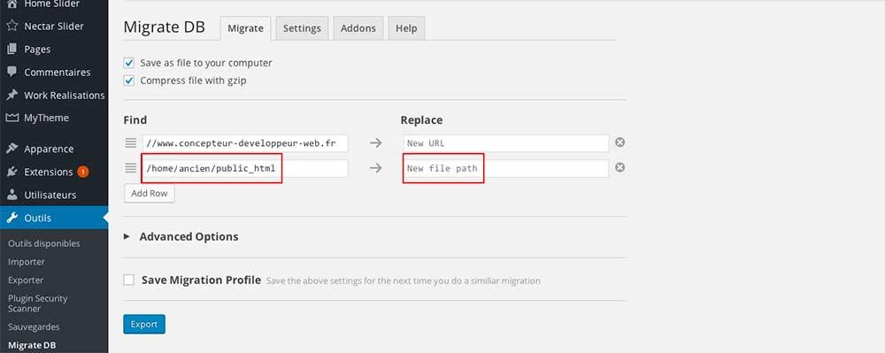 Interface du plugin WP Migrate DB, pour la migration des bases de données WordPress