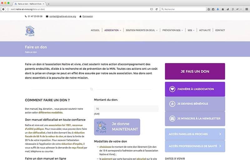 Refonte du site internet naitre-et-vivre, page de dons, CDW