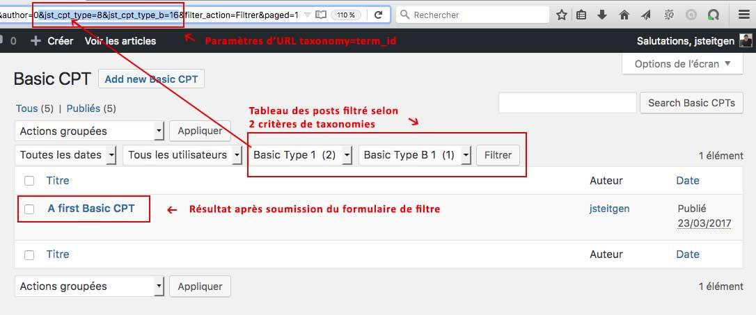 Page d'un Custom Post Type WordPress filtrée avec les termes d'une taxonomie