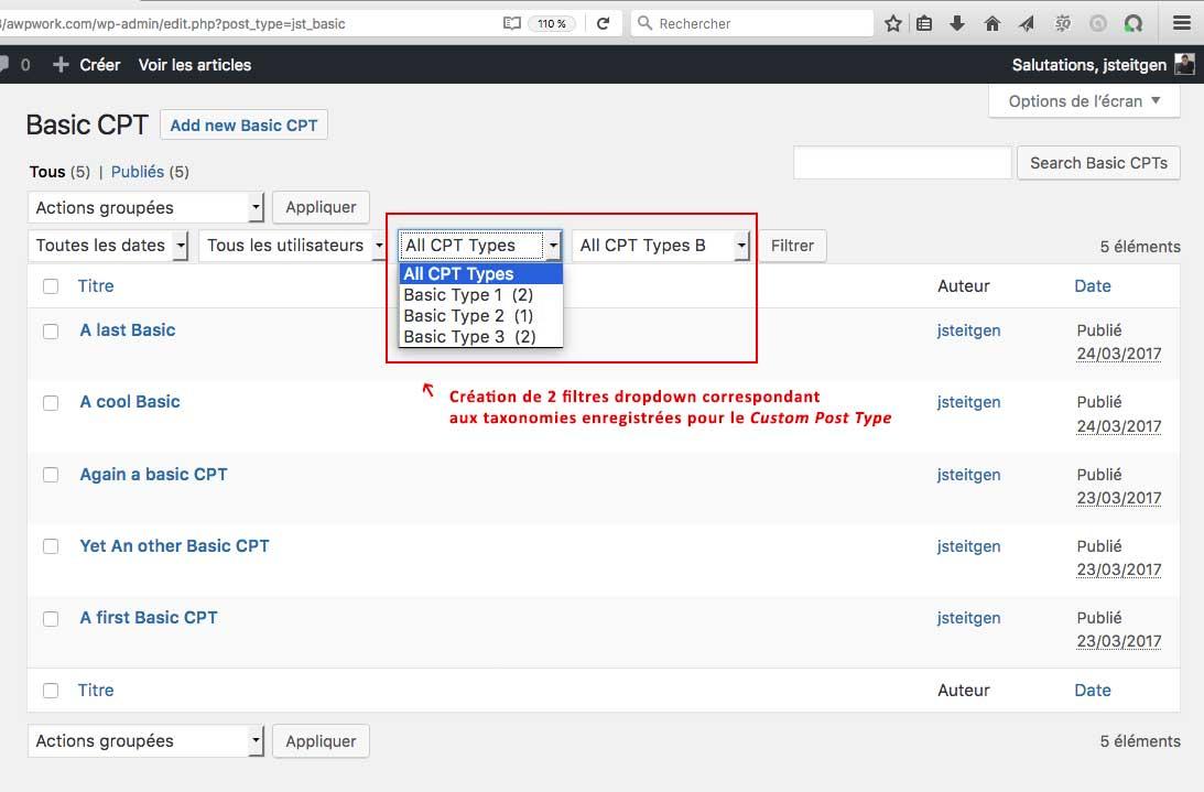 Filtre de taxonomie d'un Custom Post Type WordPress, écran d'administration