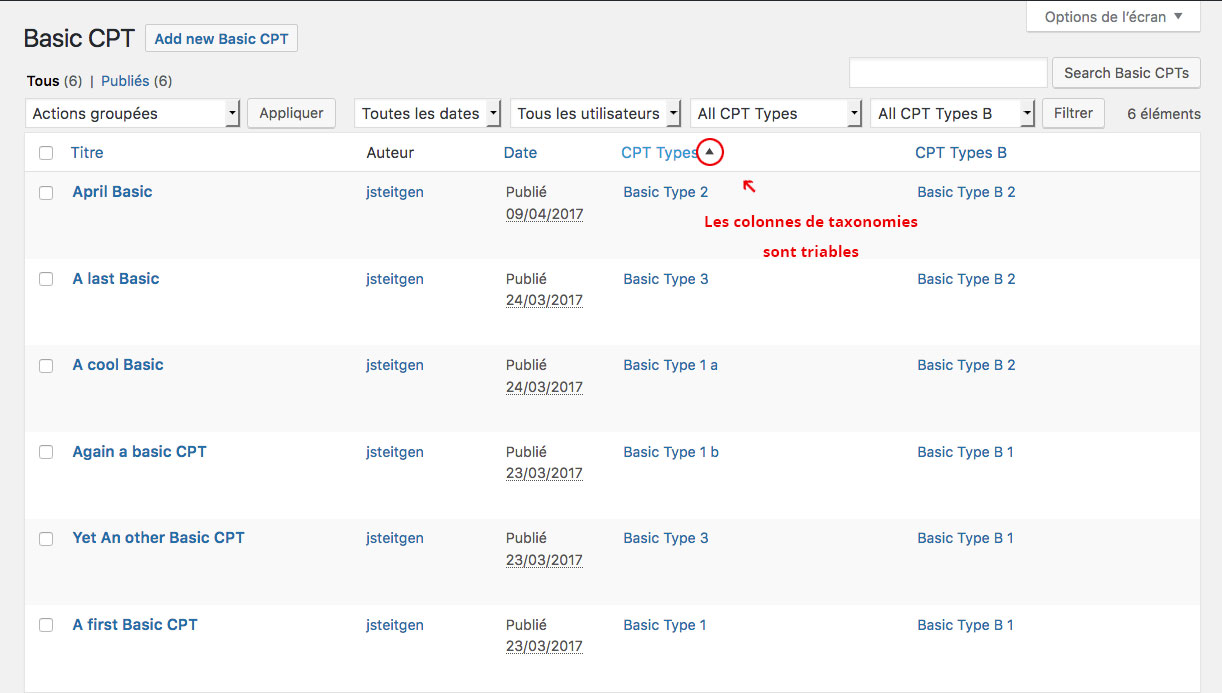 Colonne de taxonomie triable, page d'administration de Custom Post Type WordPress