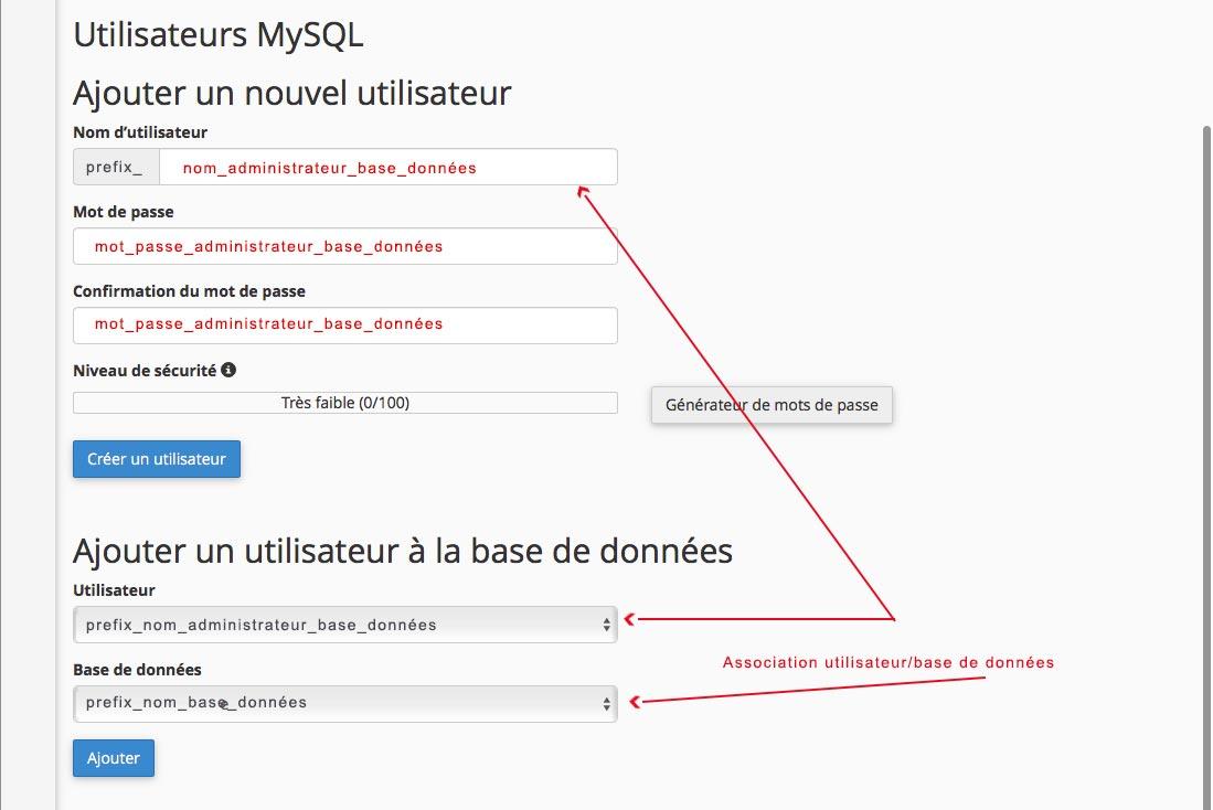 Créer un site WordPress : création sur cPanel d'un nouvel utilisateur pour la base de données
