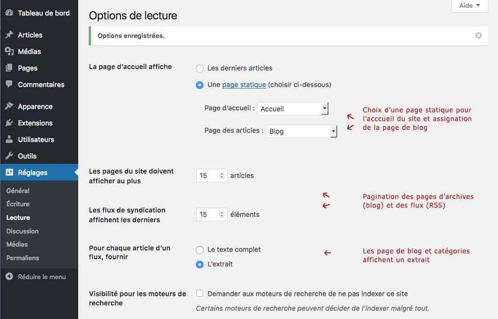 Configurer WordPress : Page de réglages WordPress, options de lecture, rappel visuel des champs