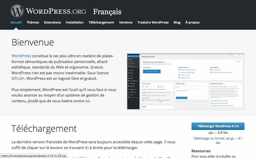 Créer un site WordPress, page officielle de téléchargement sur wordpress.org