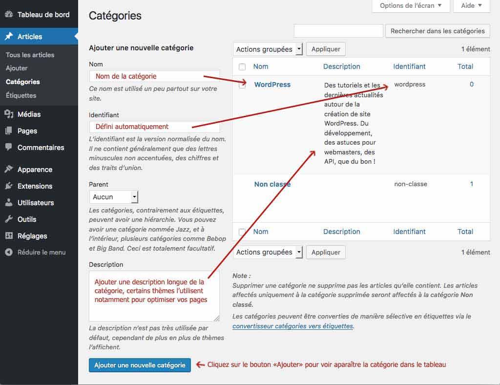 Créer un site WordPress: création d'une catégorie
