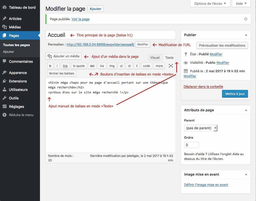 Créer un site WordPress : Écran de création de page