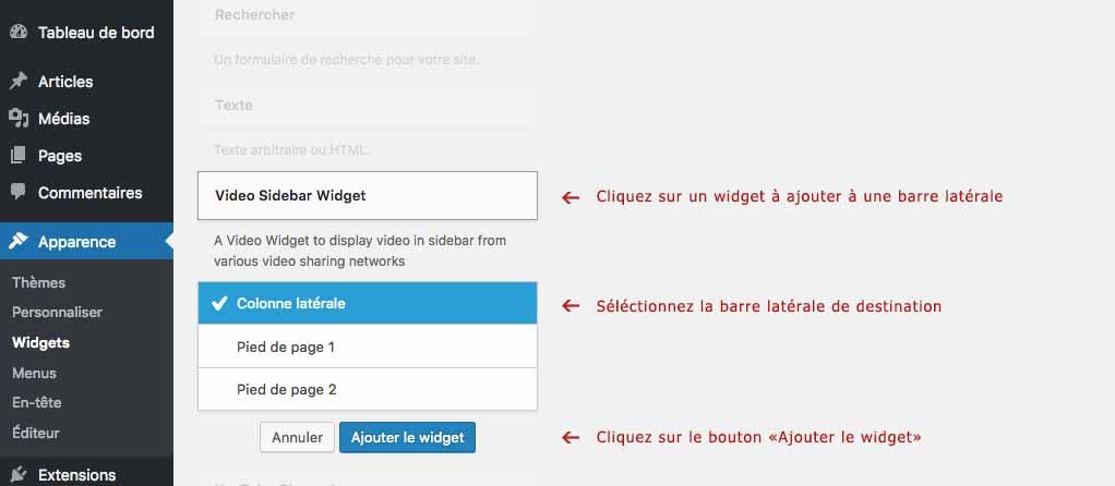 Page de réglagle des widgets WordPress