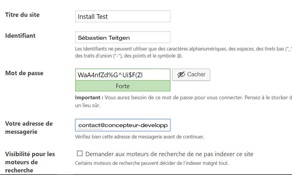 écran d'installation WordPress