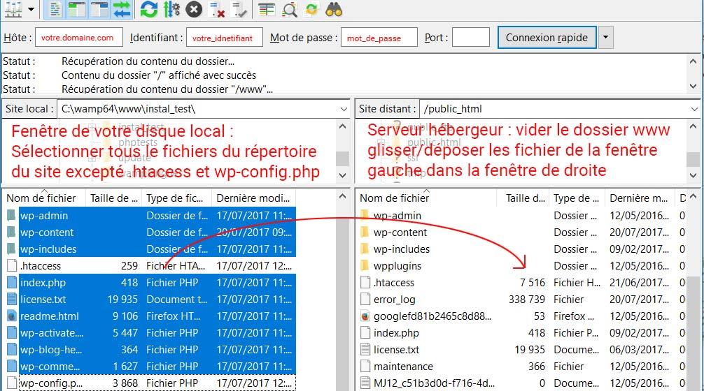 Transfert FTP d'un site WordPress avec FileZilla
