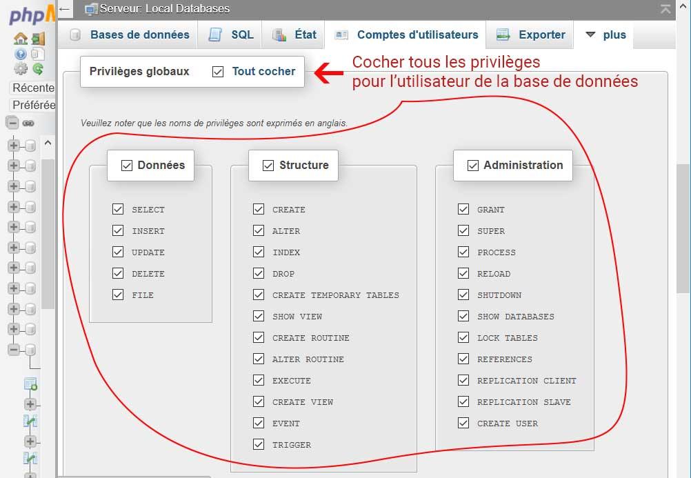 PHPMyAdmin Ajout des droits à l'utilisateur de la base de données de WordPress