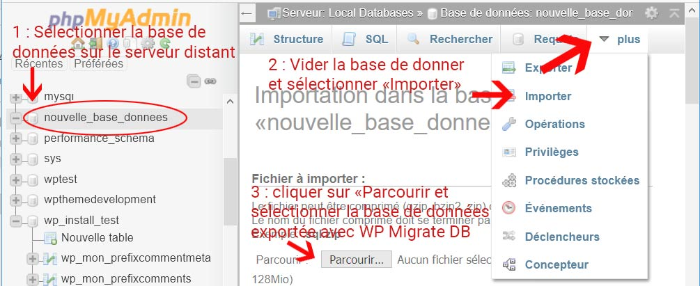 Iportation d'une base de données pour installer WordPress sur un serveur distant