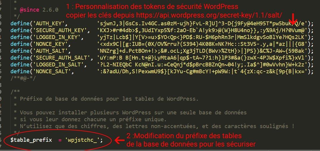Personnalisation des clés de sécurité uniques et du préfixe des tables de base de données WordPress dans le fichier wp-config.php