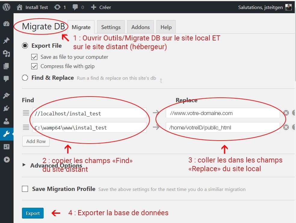 Export de la base de données WordPress avec le plugin WP Migrate DB