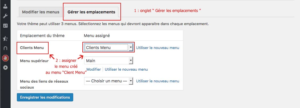 Assignation d'un menu client WooCommerce depuis l'interface d'administration de WordPress