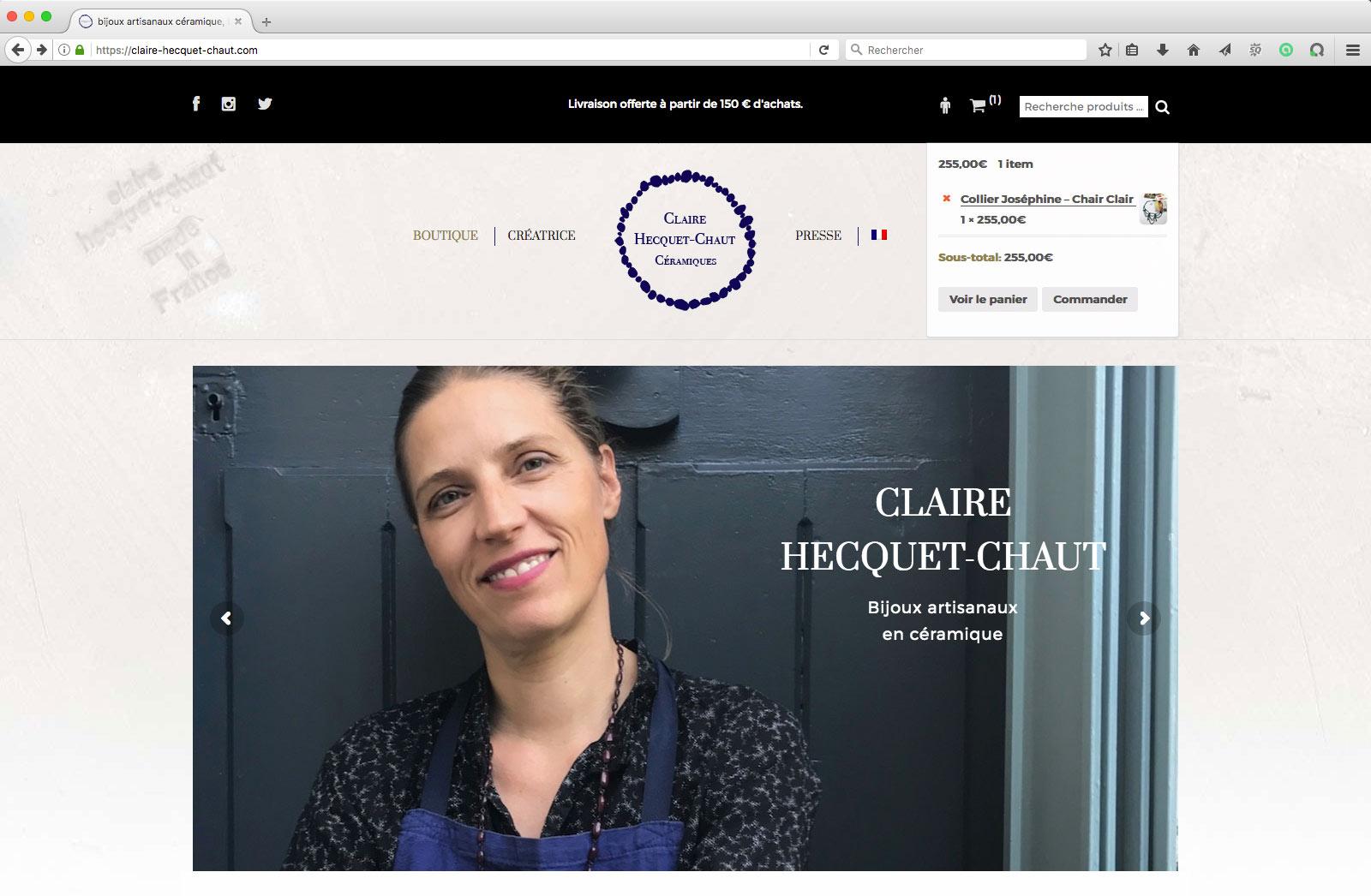 Création du site e commerce WordPress de bijoux de Claire Hecquet-Chaut - page d'accueil
