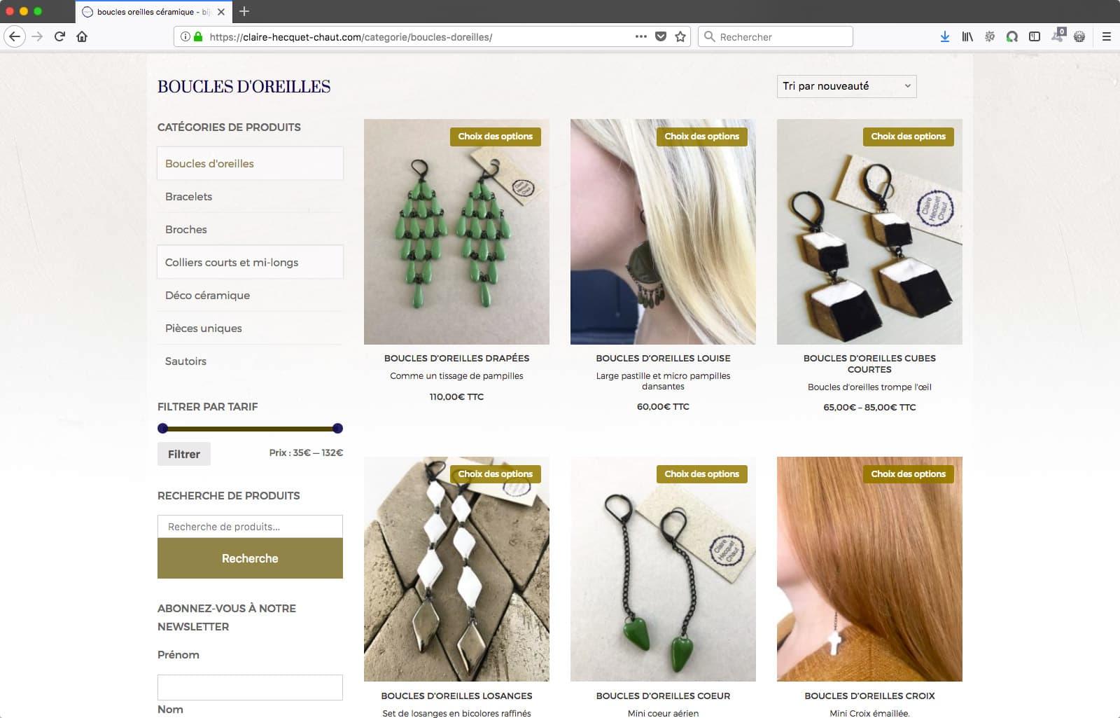 Création d'un site e-commerce de bijoux artisanaux, page de catégorie | CDW