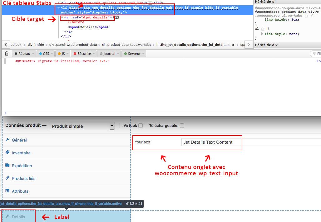 Code HTML d'un onglet de produit WooCommerce