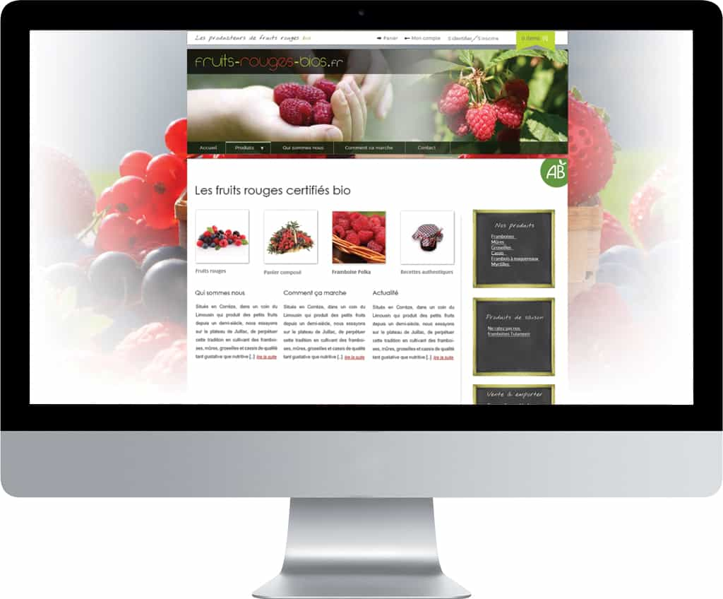 Site e-commerce WordPress, accueil fruits rouges bio | CDW