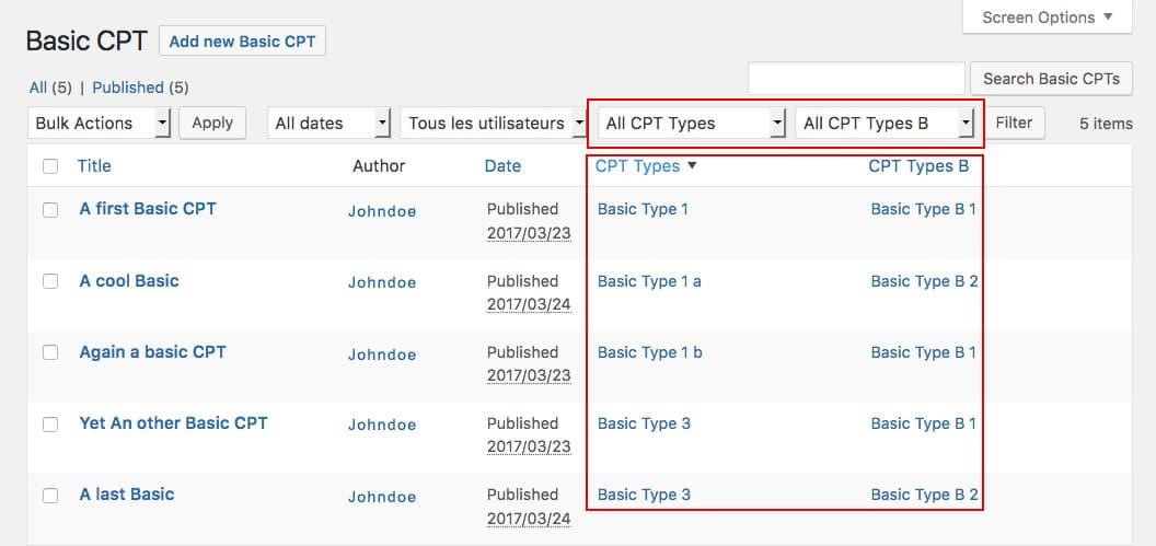 Écran d'adminitration WordPress avec filtres et colonnes de taxonomies personnalisées ajoutés avec le plugin CTFC