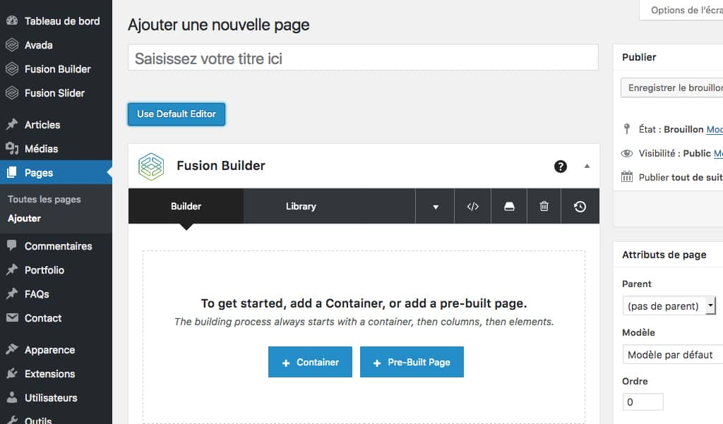 Activation du Fusion Builder d'Avada sur un page d'édition de WordPress