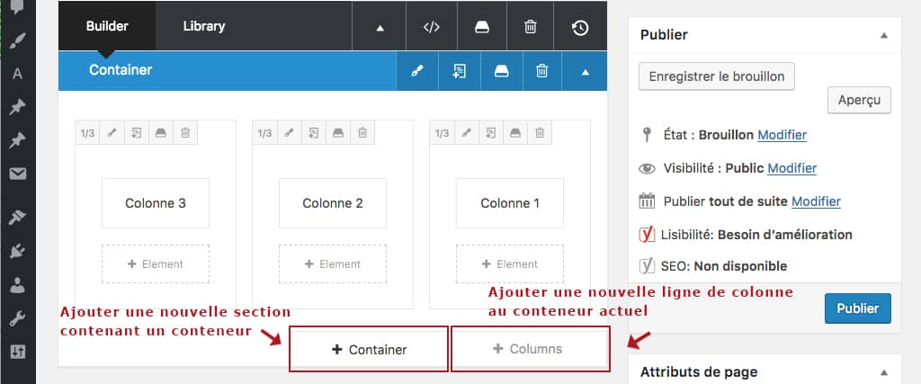 Ajout de ligne et de conteneur au builder du thème Avada