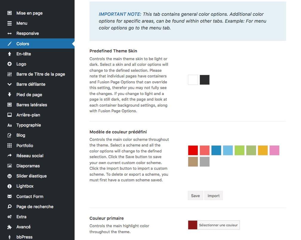 Gestion des couleurs du thème WordPress Avada