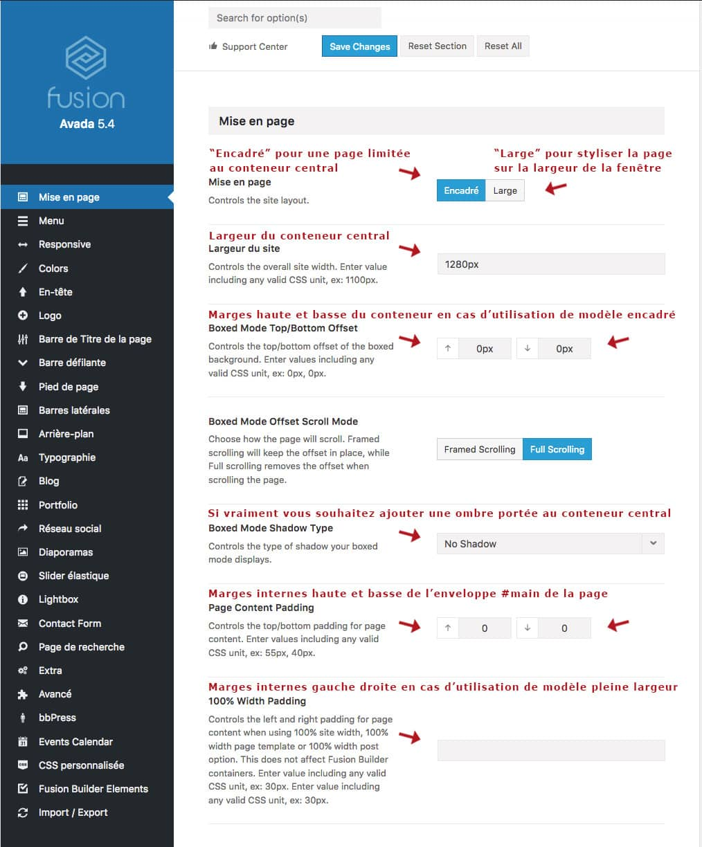 Les options de mise en page du thème WordPress Avada