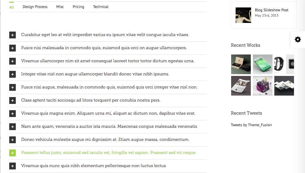 Le contenu de type FAQ du thème WordPress Avada
