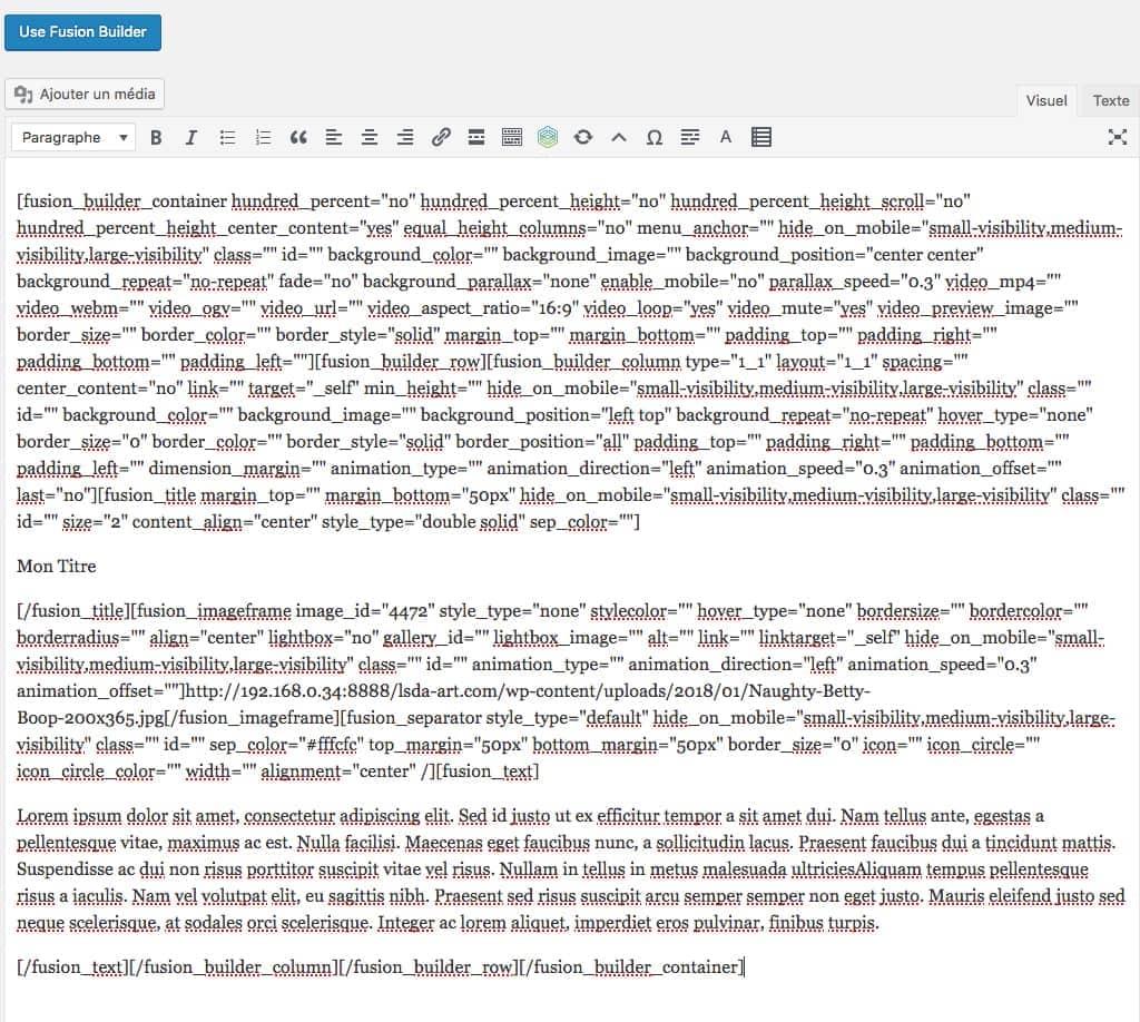 Résultat de la désactivation du Fusion Builder après son utilisation dans la page