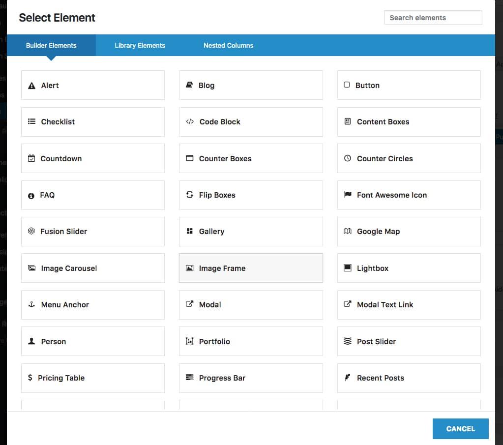 Les éléments-widgets du builder du thème Avada