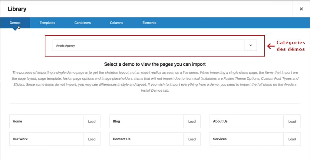 Modèles de pages de démonstration du thème WordPress Avada
