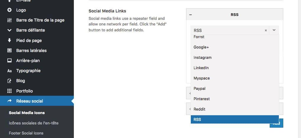 Avada, réglages des réseaux sociaux
