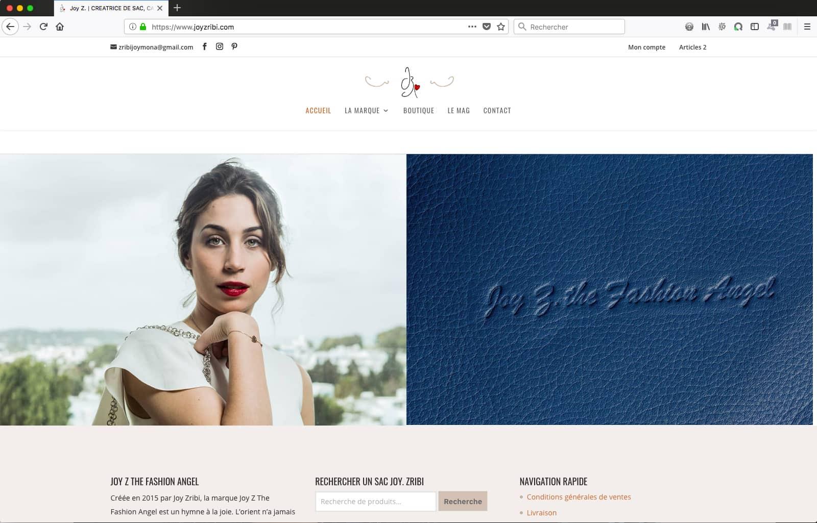 Création de site e-commerce pour Joy Zribi, créatrice de sac : page d'accueils bas.