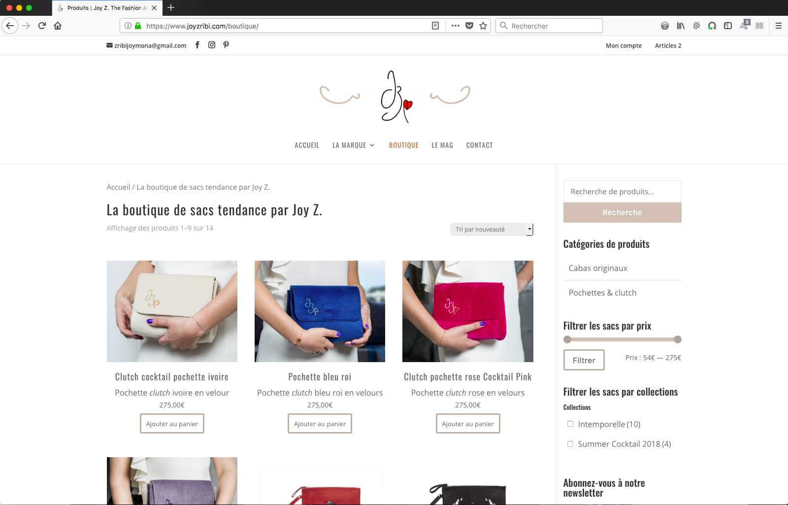 Création du site e-commerce de Joy Zribi, créatrice de sac : page boutiqiue.