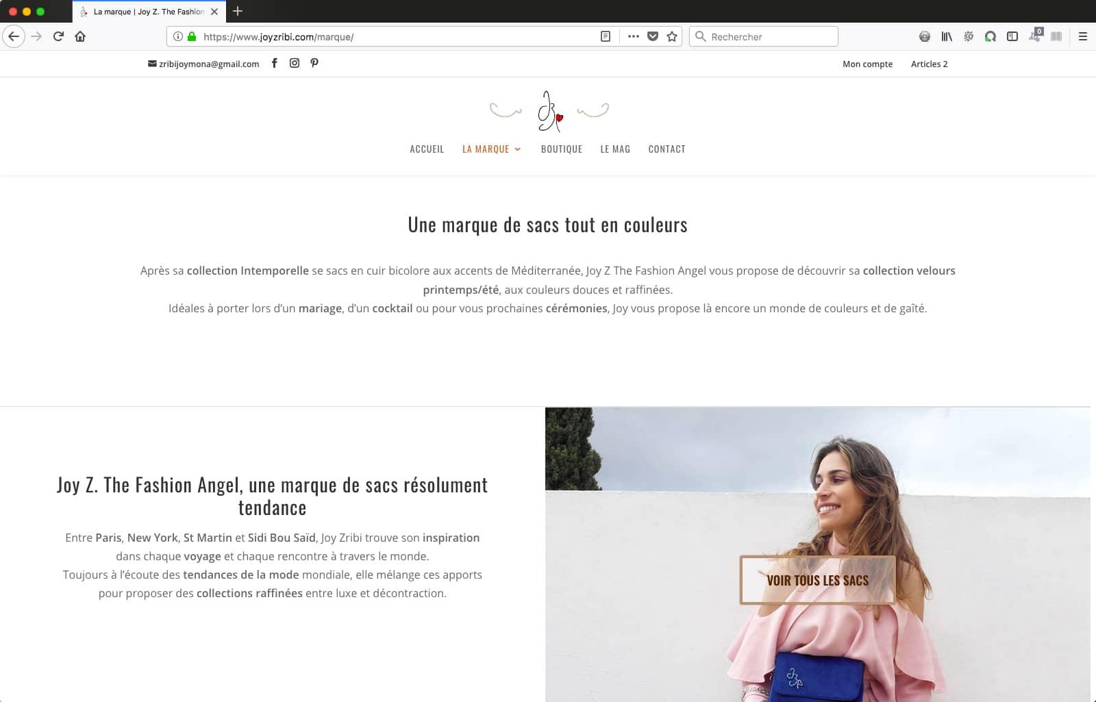 Création de site e-commerce WordPress pour Joy Zribi, créatrice de sacs