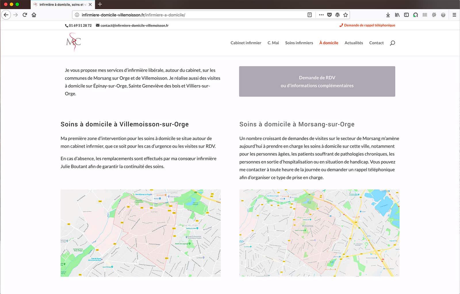 Création d'un site vitrine avec géolocalisation