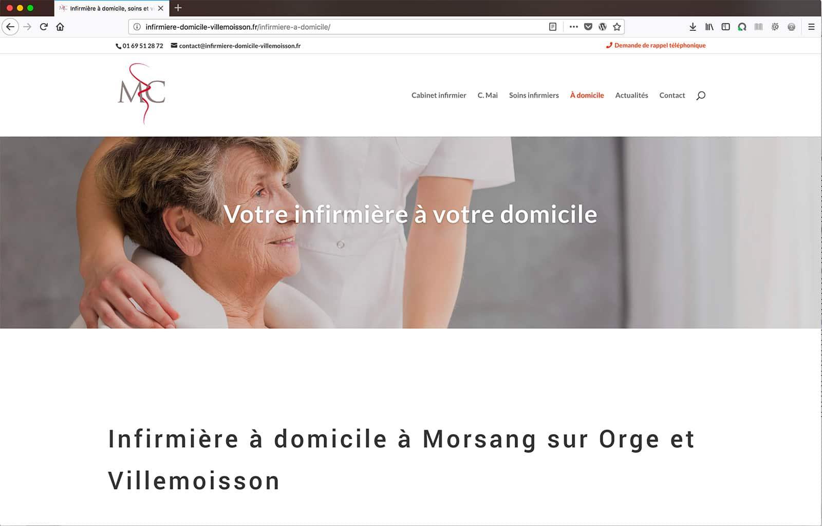 Création d'un site vitrine pour infimière libérale page prestation à domicile