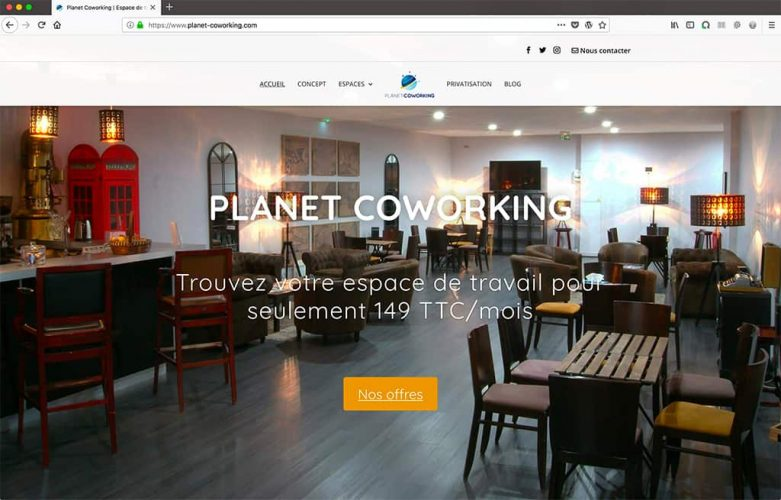 Refonte site internet Planet Coworking page accueil