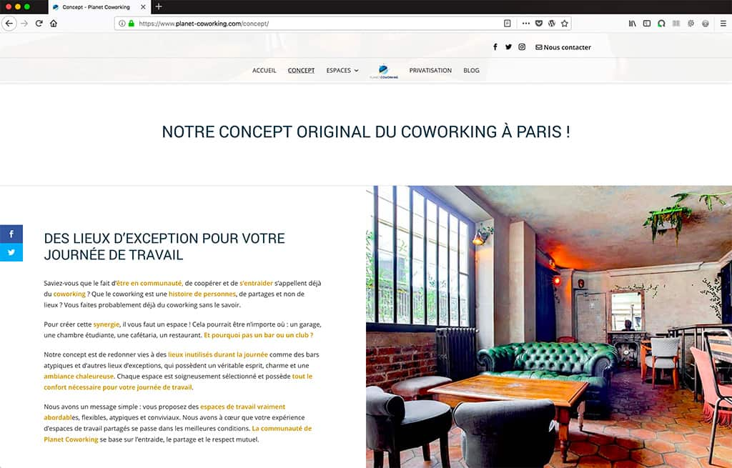 Refonte site internet Planet Coworking page Concept