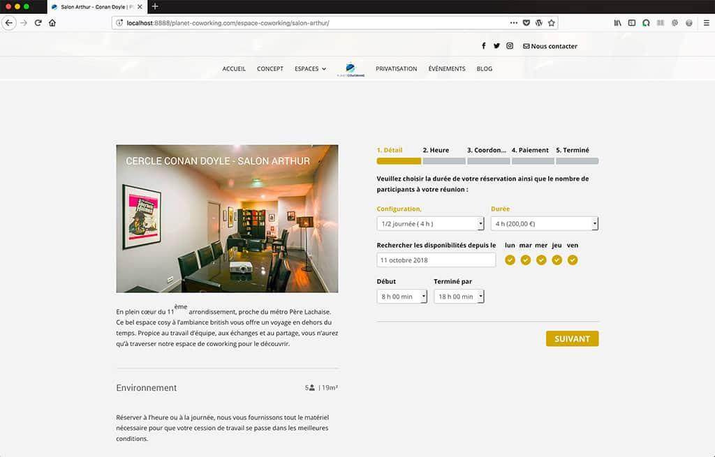 Refonte site internet Planet Coworking page réservation en ligne