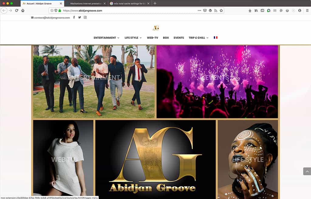 Création du blog professionnel Abidjan Groove, moisaïque page d'accueil