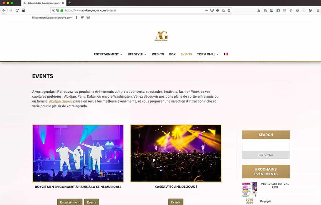 Création du blog professionnel Abidjan Groove, blog interne