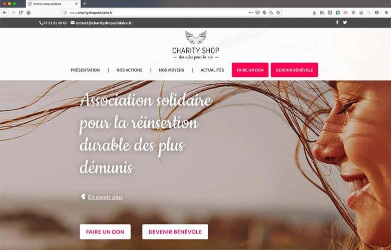 Création du site CharityShop Solidaire, page d'accueil, slider d'en-tête