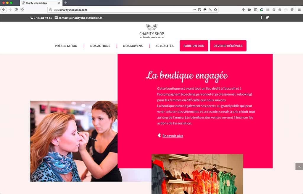 Création du site CharityShop Solidaire, page d'accueil, intégration des templates