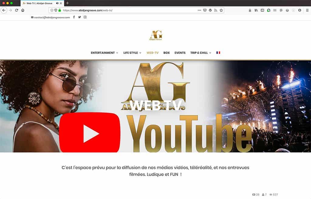 Création du site Abidjan Groove, web TV